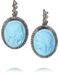 Amedeo - Rhodium-Plated Diamond Lady Cameo Earrings - Lyst