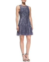 Aidan Mattox Sleeveless Beaded Sequined Pattern Cocktail Dress - Lyst