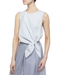 Tibi Stripe Shirting Crop Tie Top - Lyst