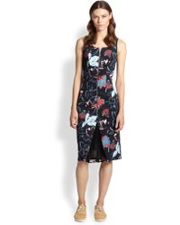 Suno Zip-Front Floral-Print Pleated Chiffon-Insert Dress - Lyst