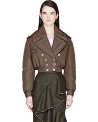 Burberry Prorsum Olive Drab Quilted Down Cropped Jacket - Lyst