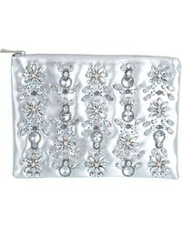 Miss Selfridge | Embellished Metallic Faux Leather Clutch | Lyst