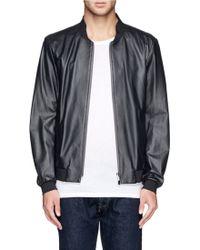 Armani Leather Bomber Jacket - Lyst