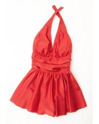 Esther Williams Swimwear Seaside Muse Swim Dress In Red - Lyst
