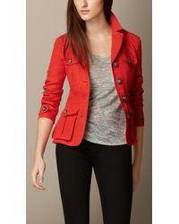 Burberry Linen Field Jacket - Lyst