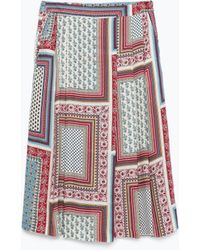 Zara Printed Mini Skirt multicolor - Lyst