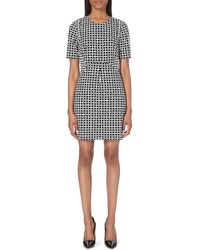 Diane Von Furstenberg Geometricprint Stretchcrepe Shift Dress Blackivory - Lyst