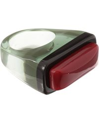 Marni - Green and Red Bicolour Resin Ring - Lyst