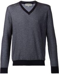 Melindagloss Blue V-Neck Sweater - Lyst