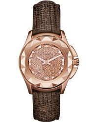 Karl Lagerfeld Karl 7 Rose Gold Tone and Lizard Watch - Lyst