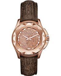 Karl Lagerfeld Ladies Karl 7 Rose Goldtone And Lizard Watch brown - Lyst