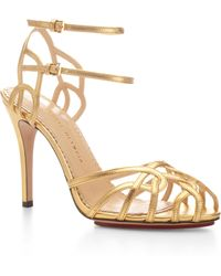 Charlotte Olympia Ursula Metallic Leather Sandals - Lyst