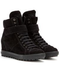 Miu Miu Suede Concealed Wedge Sneakers - Lyst
