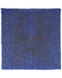 Alexander McQueen Blue Leopard Pashmina - Lyst