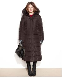 DKNY Plus Size Hooded Faux-Fur-Trim Maxi Down Coat - Lyst
