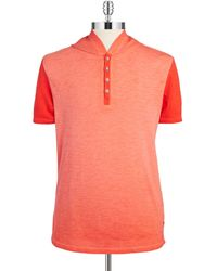 Guess Colorblocked Henley Tee orange - Lyst