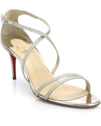 Christian Louboutin Gwinee Glittered Leather Sandals - Lyst