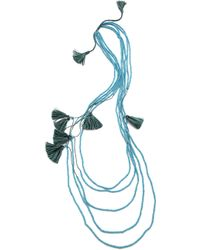 Serefina Beaded Layer Tassel Necklace Sky Multi - Lyst
