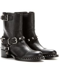 Miu Miu Leather Biker Boots - Lyst