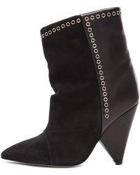 Isabel Marant Lance Velvet Eyelet Leather Boots - Lyst