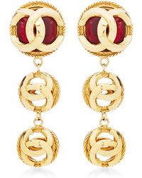 What Goes Around Comes Around Chanel Cc Orb Red Stone Drop Earrings - Lyst