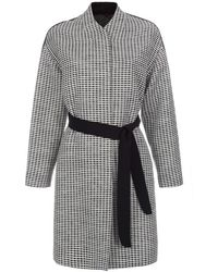 Paul Smith Black And White Textured Cocoon Coat - Lyst