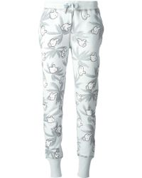 Zoe Karssen Slim Palm-Print Cotton-Blend Sweatpants - Lyst