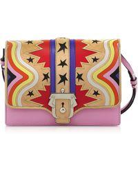 Paula Cademartori - Tatiana Intarsio Big Bang Pink Leather And Suede Shoulder Bag - Lyst
