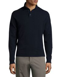 Neiman Marcus | Cashmere Quarter-button Pullover Sweater | Lyst