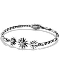 David Yurman Starburst Threestation Cable Bracelet with Diamonds - Lyst