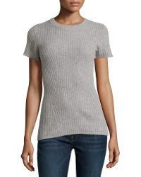 Philosophy Cashmere - Cashmere Ribbed Short-sleeve Sweater - Lyst