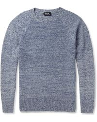 A.P.C. Knitted-camel Crew Neck Sweater - Lyst