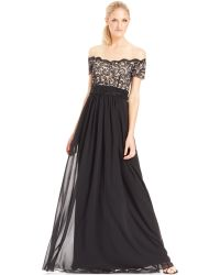 JS Boutique Off-The-Shoulder Embellished Lace Gown - Lyst