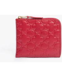 Comme des Garçons Half Zip Clover Emboss Wallet red - Lyst