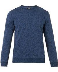 A.P.C. Floralprint Cottonblend Sweatshirt - Lyst