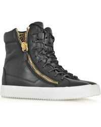 Giuseppe Zanotti Black Leather and Crystals Sneaker - Lyst