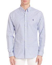 Ralph Lauren Blue Label | Slim-fit Stretch Oxford Checked Sportshirt | Lyst