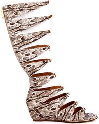 Report Signature Geri Gladiator Wedge Sandals beige - Lyst