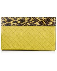 Bottega Veneta Snakeskin and Intrecciato Leather Clutch - Lyst