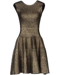 Issa Gold Short Dress - Lyst