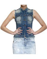 Manila Grace - Denim Sleeveless Jacket With Paillettes Shoulders - Lyst