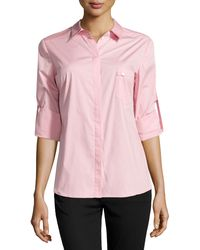Halston Heritage Long-sleeve Button-front Poplin Blouse - Lyst