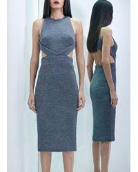 Cushnie et Ochs Waffle Knit Cut Out Dress Grey - Lyst