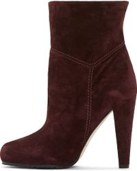 Brian Atwood Deep Burgundy Suede Nilla Ankle Boot - Lyst