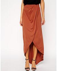 Asos Wrap Maxi Skirt in Crepe - Lyst