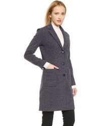 ATM - Bonded Overcoat With Faux Fur Backing - Donegal Navy - Lyst