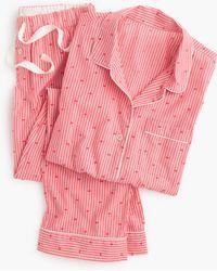 J.Crew   red Cotton Textured-dot Sleep Set In Stripe   Lyst