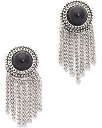 Sam Edelman - Stone Fringe Earrings - Black/rhodium - Lyst