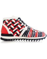 Balmain Mawi Braided-Leather High-Top Trainers - Lyst