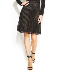 Calvin Klein Pleated Metallic Lace Skirt - Lyst